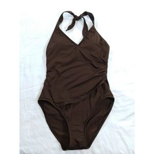 Anne Cole Collection Halter Swimsuit 12 Brown